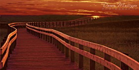 Landscape photo of a boardwalk in New Brunswick at sunset