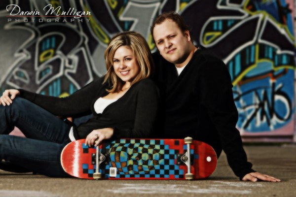 skateboard park engagement photos in edmonton