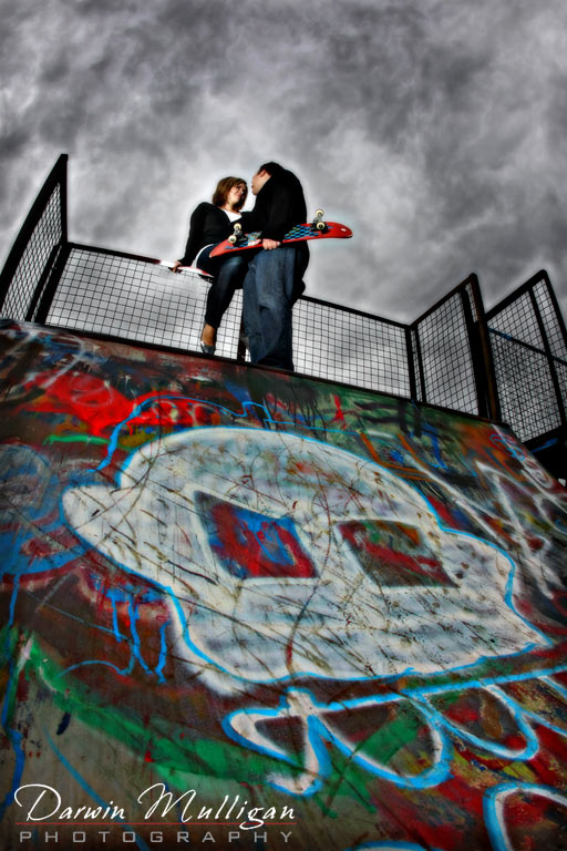 kerri-lynn and michael skateboard park engagement photos in edmonton