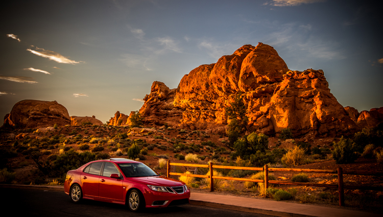 SAAB Aero 9.3 Turbo, Arches National Park, Utah, Sunset