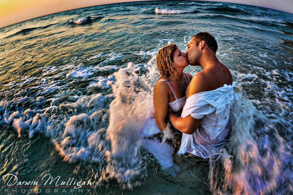 Trash The Dress Ideas Newlywed In Ocean With Waves