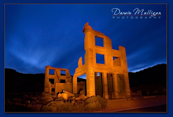 Rhyolite Ghost Town,Nevada,Light painting,night photography,Cook Bank Building