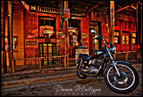 Virginia City ghost town,Nevada,motorcycle,HDR photography