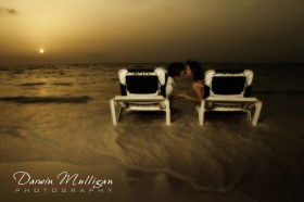 trash the dress idea - loung chairs on beach in ocean