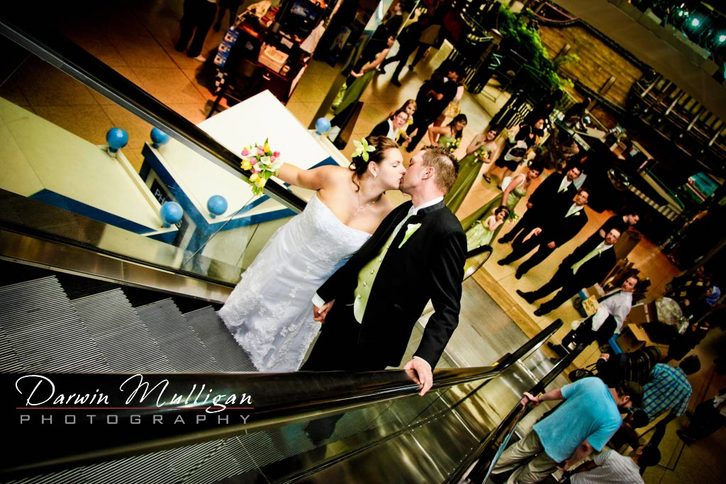 Romantic kiss at West Edmonton Mall wedding