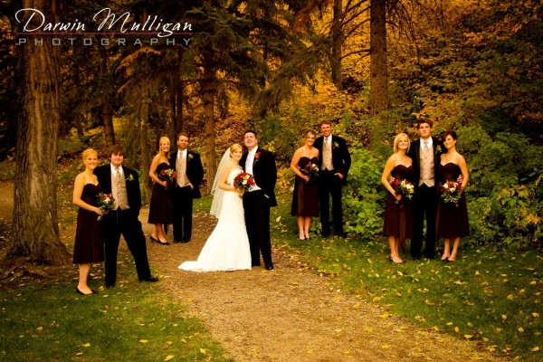 Formal wedding photography at Emily Murphy Park in Edmonton