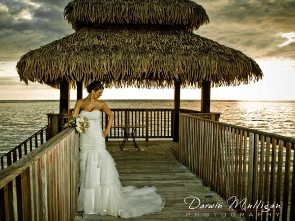 Bride posing on her destination wedding in Jamaica